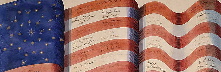 Drawing of the U.S. flag with various annonymous signatures along the stripes.  Courtesy of the National Archives.