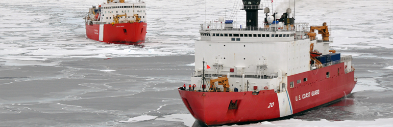 View of USCG HEALY and Canadian Coast Guard Cutter LOUIS S. ST. LAURENT working together as part of USGS Continental Shelf Project.