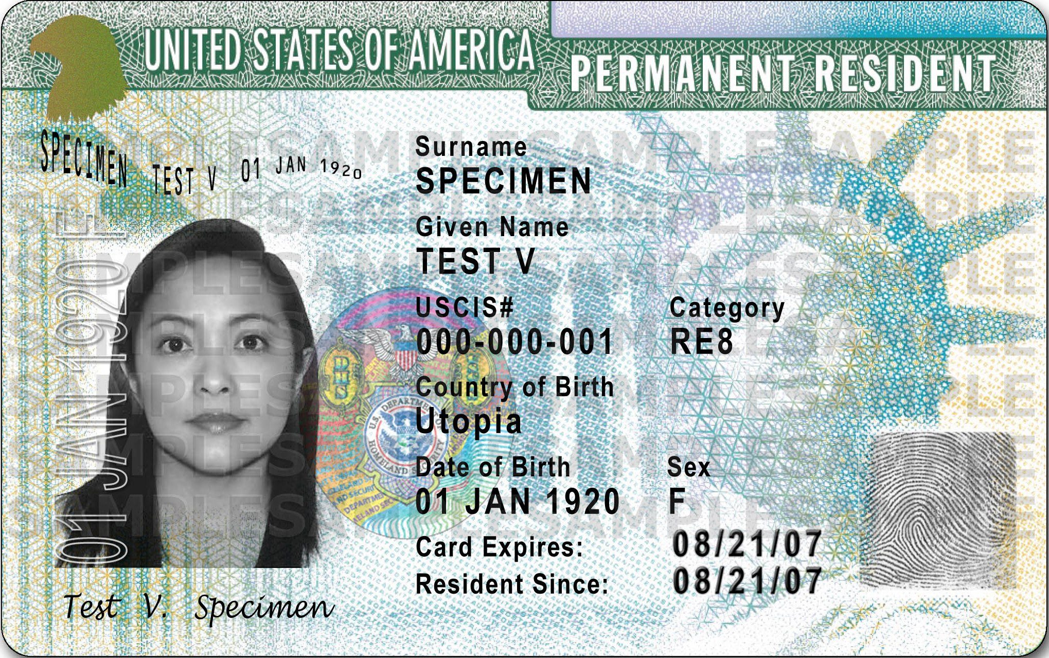 Example of Permanent Resident Card