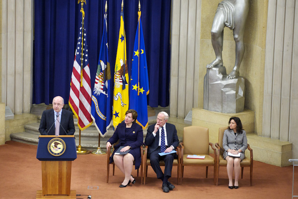 Vice President Joaquín Almunia of the European Commission speaks as Acting Assistant Attorney General Sharis A. Pozen, former Assistant Attorney General John H. Shenefield and Federal Trade Commission Commissioner Edith Ramirez look on