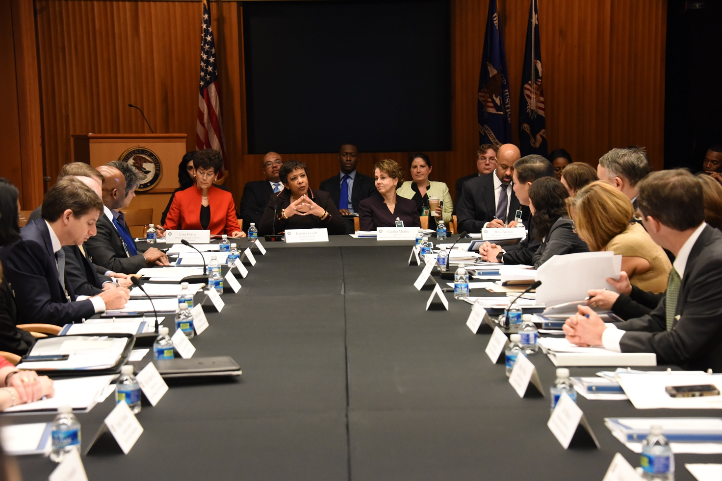 Attorney General Loretta E. Lynch and White House Director of Domestic Policy Council Cecilia Muñoz host the Inaugural White House Legal Aid Interagency Roundtable.