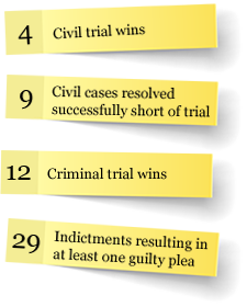 4 civil trial wins, 9 civil cases resolved before trial, 12 criminal trial wins, 29 indictments with at least 1 guilty plea
