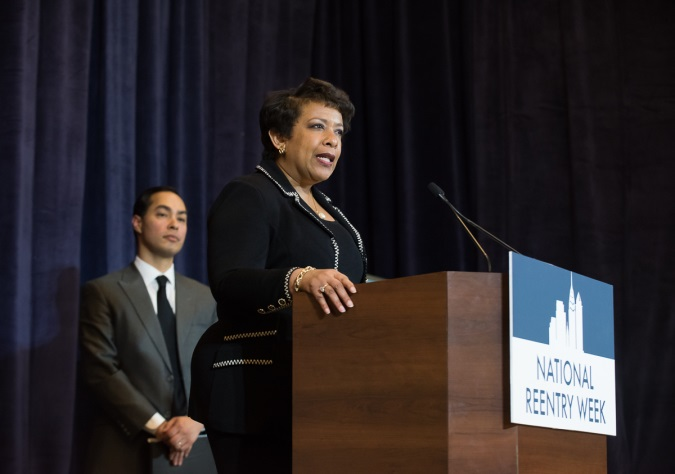 Attorney General Loretta Lynch and HUD Secretary Julian Castro announce DOJ initiatives to promote reentry and HUD initiatives that support juveniles with criminal backgrounds who live in public housing in Philadelphia, Pennsylvania.  Photo provided by the Department of Housing and Urban Development