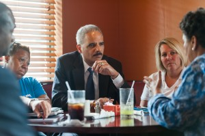 Attorney General Eric Holder receives a briefing on the ongoing investigation into the death of Michael Brown