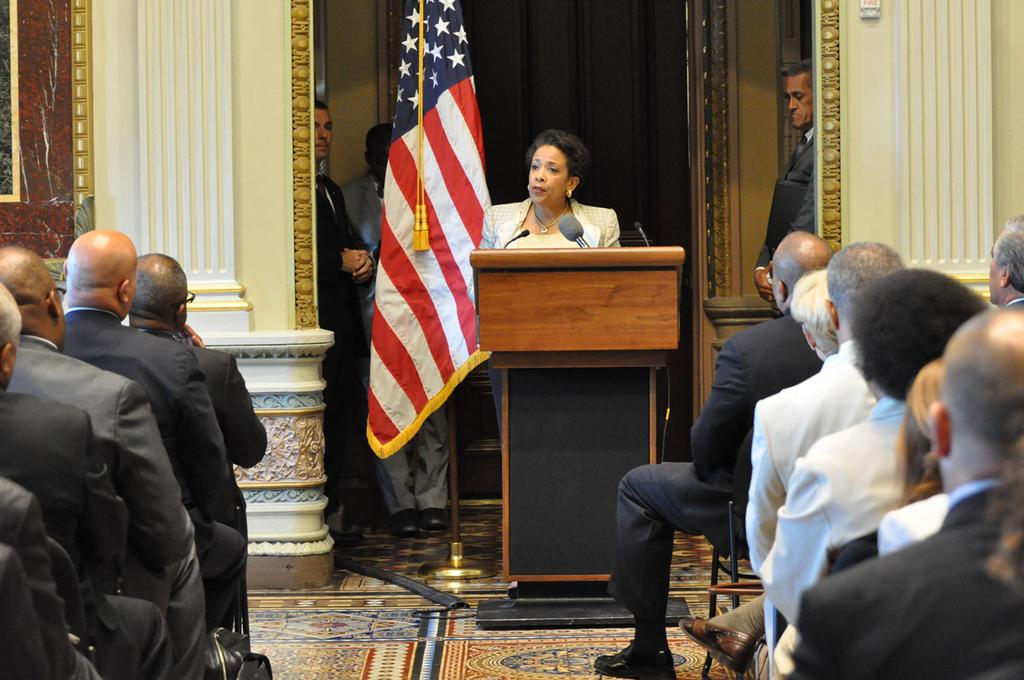 Attorney General Loretta E. Lynch delivers remarks at the White House Community Policing Forum.
