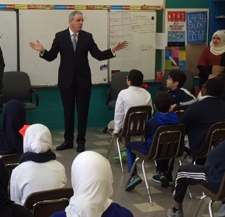 United States Attorney Peter Neronha speaks with students at the Islamic School of RI about the history and roles of the US Attorney