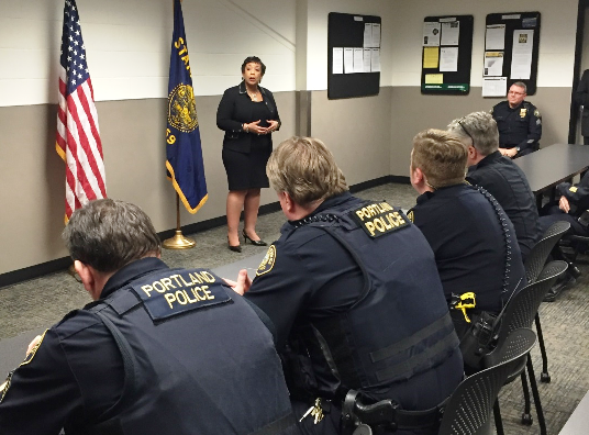 Attorney General visits with Portland Police Bureau officers