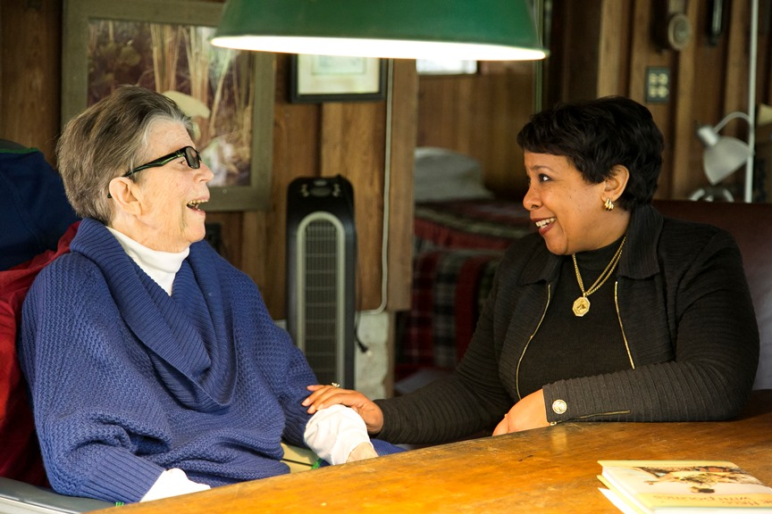 Attorney General Lynch visits with Attorney General Reno, the first woman to lead the Department of Justice and the second-longest serving Attorney General in American history.
