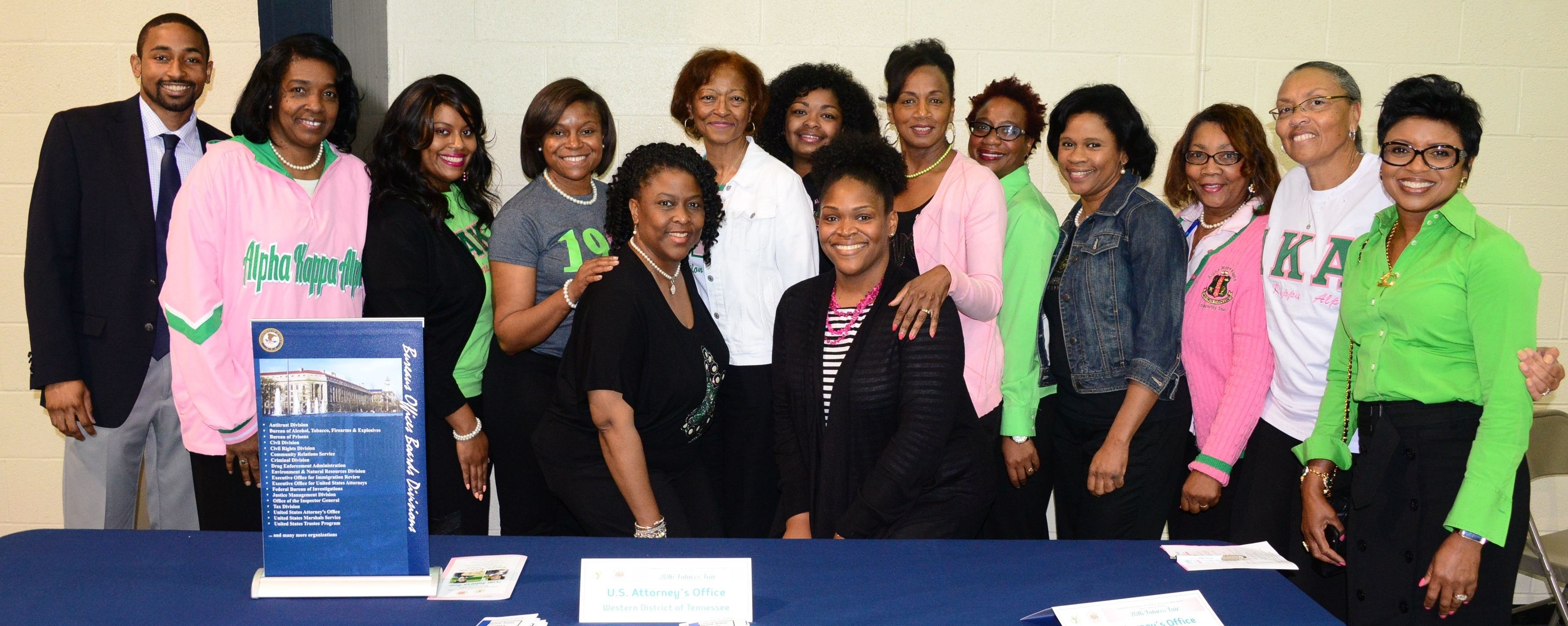 "Community Outreach Specialist/PIO Louis Goggans (L) and AUSA Reagan Taylor (Center R) pose with AKA sorority members at their ""Future's Fair"" event for high school and college students."