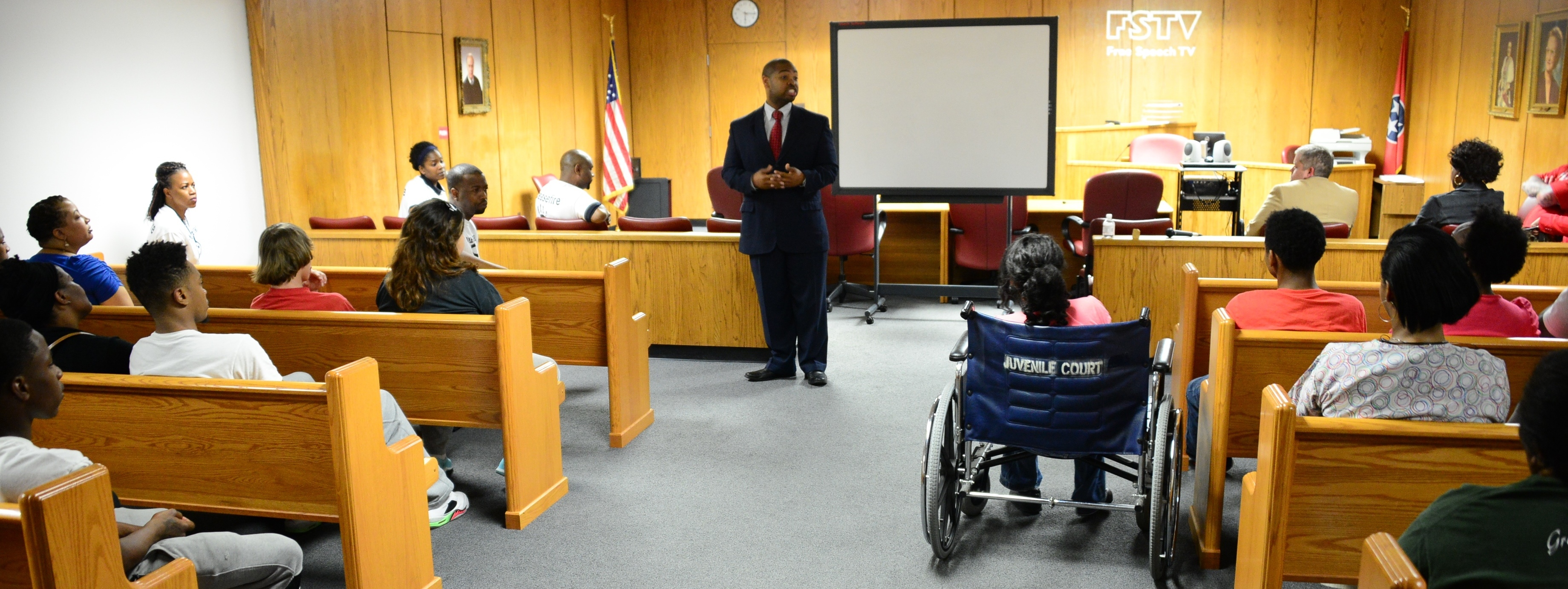EAUSA Biggers talks to juvenile offenders about refraining from a life of crime.