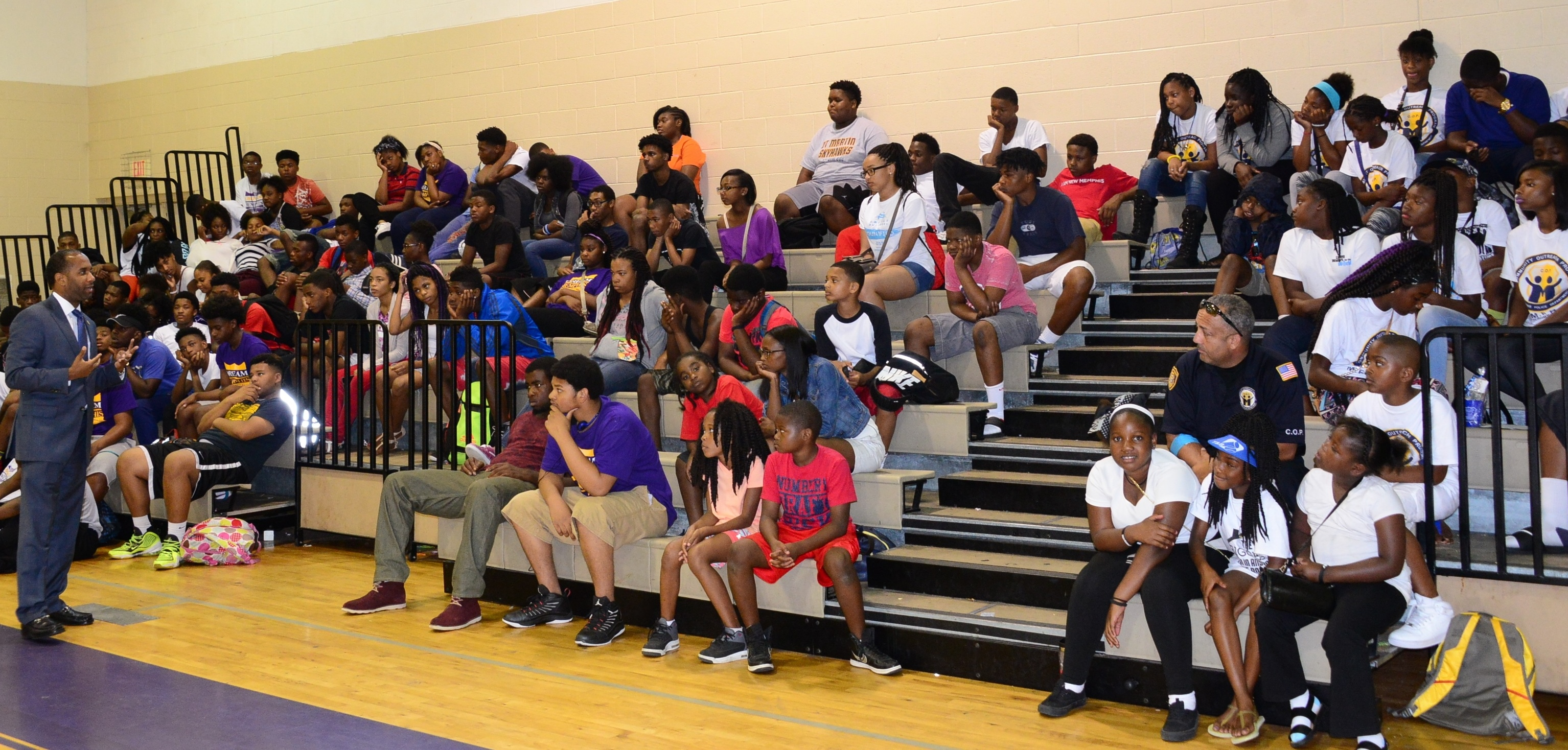 U.S. Attorney Stanton talks to youth at the MPD's C.O.P. Summer Camp.