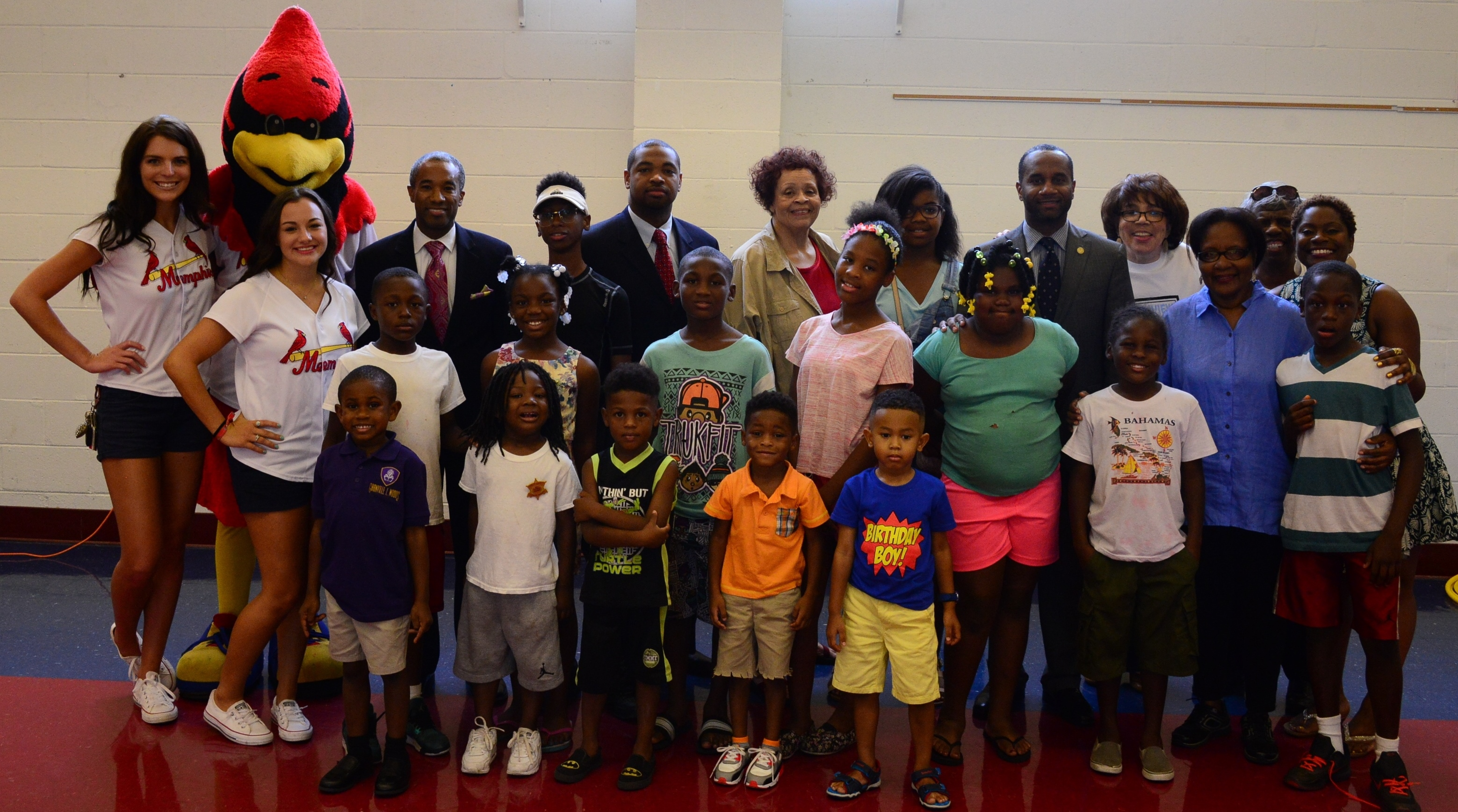 Members of the U.S. Attorney's Office pose with kids and adults of the Glenview community during National Night Out 2016.