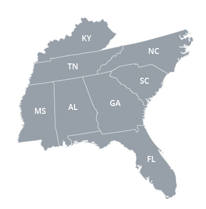 Southeast Regional Office Map
