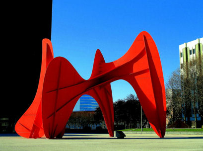 Picture of Calder Plaza Sculpture, Grand Rapids, MI in the the spring