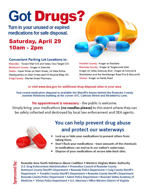 National Drug Take Back Day, Saturday, April 29, 2017