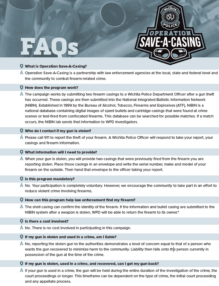 Operation Save-A-Case FAQs. For an accessible version, click on the PDF link below.