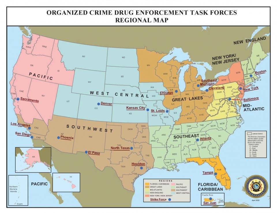 OCDETF Strike Force Map
