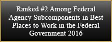 Ranked #2 Among Federal Agency Subcomponents in Best Places to Work in the Federal Government 2016