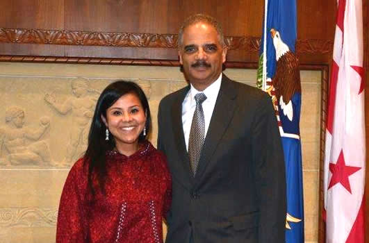Charisse Arce and AG Eric Holder
