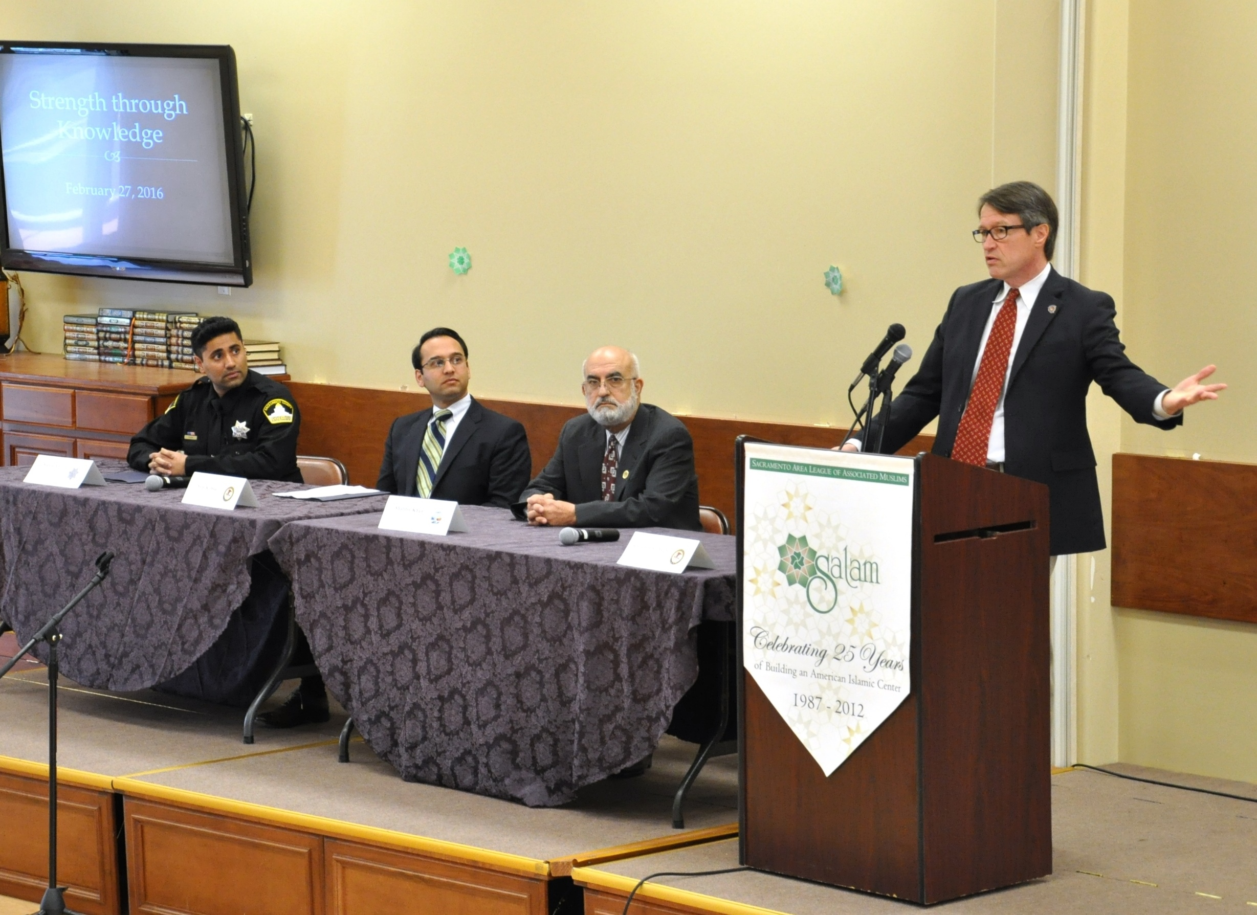On February 27, 2016, The United States Attorney's Office participated in a community building event hosted by the SALAM Islamic Center in Sacramento - the daylong event drew around 80 members of the Muslim Community from the Sacramento area for a series