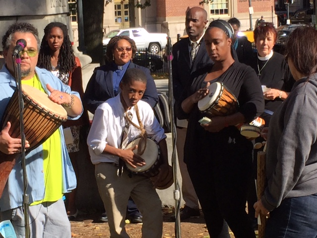 Drummers call for the assembly for the Prayer Vigil
