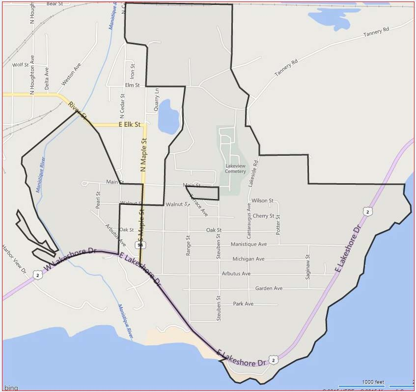 Map Of Manistique, Michigan City Route 1