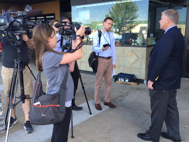 USA Techau meeting with the press at the Hate Crimes Forum in Dubuque, Iowa