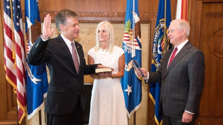 Attorney General Sessions swears in FBI Director Chris Wray