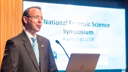 """""""Forensic science is important to our mission, so Attorney General Sessions has made the effective and reliable use of forensic science a high priority.""""—Deputy Attorney General Rosenstein at the National Symposium on Forensic Science"""