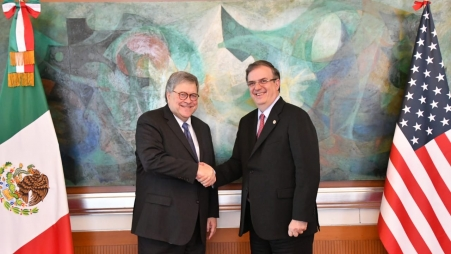 Attorney General Barr with Foreign Minister Marcelo Ebrard Casaubon at the Mexican Foreign Ministry ahead of their bilateral meeting