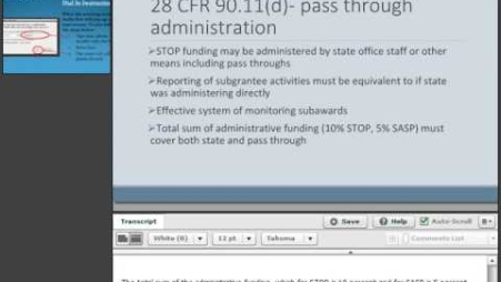 Embedded thumbnail for Office on Violence Against Women: Using Pass Throughs and Administrative Funds
