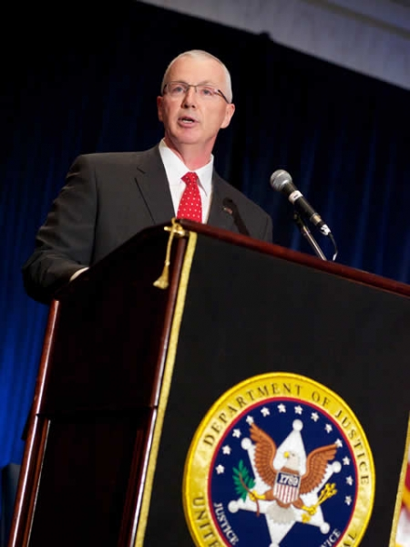 Director John Clark of the U.S. Marshals Service addressing the audience at the April 13, 2010 ceremony.