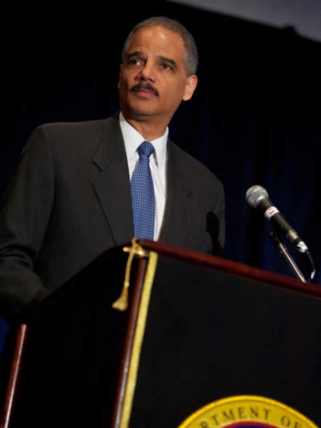 Attorney General Holder addressing the audience.