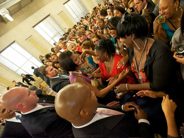 First Lady Michelle Obama personally greeted department employees and praised their service.