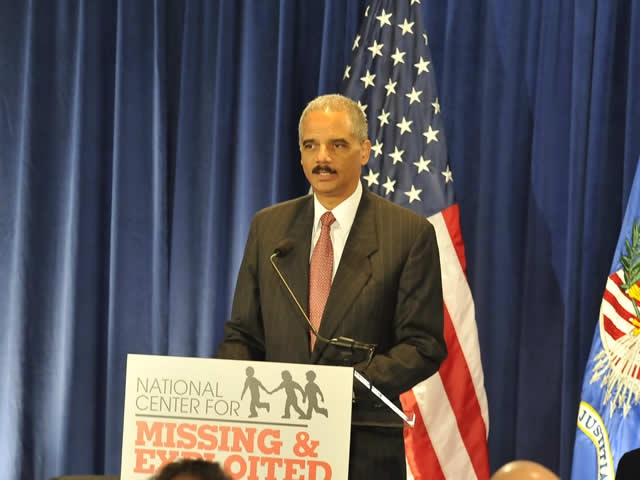 Attorney General Holder telling the audience that it is time to intensify our efforts in protecting children across our country.