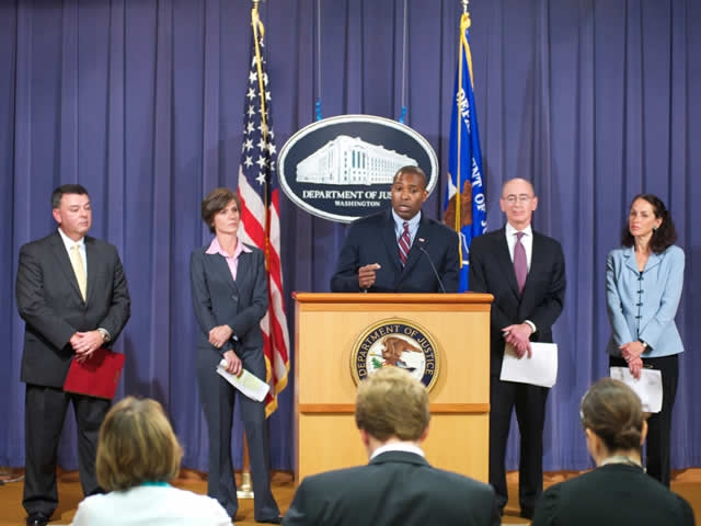 Brian D. Lamkin, Special Agent in Charge, FBI Atlanta, Sally Yates, U.S. Attorney, Northern District of Georgia; Tony West, Assistant Attorney General Civil Division U.S. Department of Justice; Daniel Levinson, Inspector General, U.S. Department of Health & Human Services; and Margaret Hamburg, M.D., FDA Commissioner of Food & Drugs sharing results from the collaboration of the Department of Justice and the Department of Health and Human Services and their promise to crack down on health care fraud.
