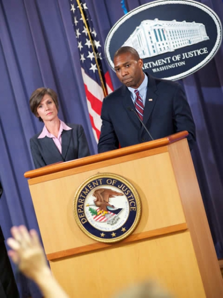 Sally Quillian Yates, U.S. Attorney, Northern District of Georgia listens as Assistant Attorney General Tony West discusses the consequences of fraud.