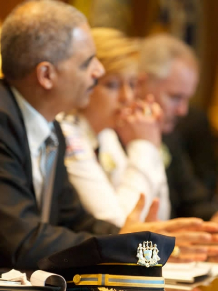 From left to right, Director of COPS Barney Melekian; Director of the Bureau of Justice Assistance Jim Burch; Director of U.S. Marshall Service Stacia Hylton; FBI Director Robert Mueller; DEA Administrator Michele Leonhart; ATF Acting Director Ken Melson joined Attorney General Eric Holder in the launch of the law enforcement officer safety initiative.