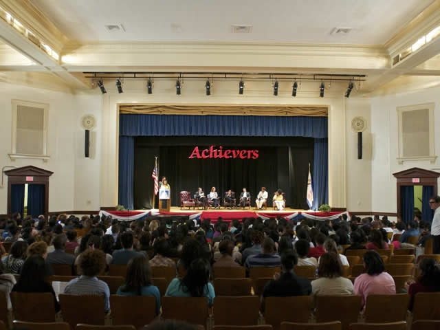 More than 400 students engaged in a lively question and answer session with Associate Attorney General Tom Perrelli; Susan B. Carbon, Director for the Office on Violence Against Women (OVW); Vincent Cohen Jr., Principal Assistant U.S. Attorney; Sunil H. Mansukhani, Deputy Secretary for Policy at the Department of Education's Office of Civil Rights; Neil Irvin of Men Can Stop Rape; Tonya Turner of Break The Cycle; and Melinda Coles of the DC Rape Crisis Center.