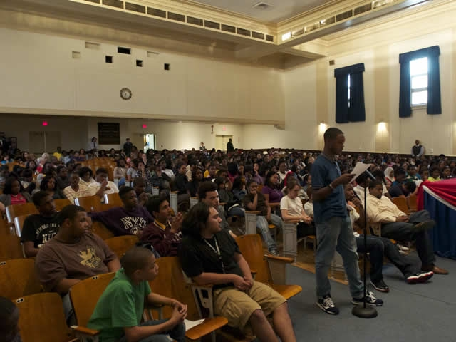 Benjamin Banneker students participate in a question and answer session.
