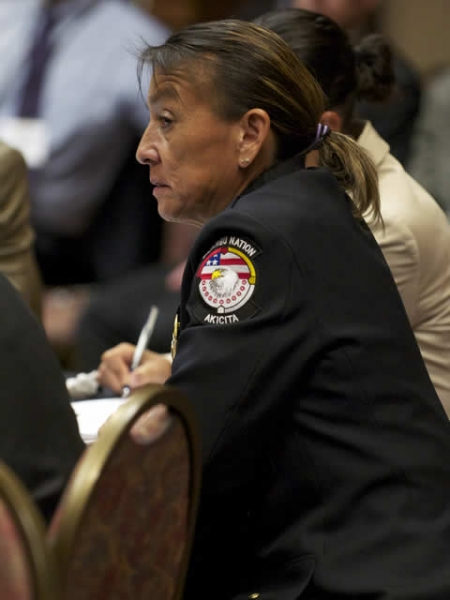 Grace Her Many Horses, the Chief of Police of the Rosebud Sioux Tribe attends the listening session in Rapid City, SD.