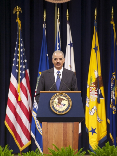 Attorney General Eric Holder speaks of the lasting impact Mr. Keeney had on the Department of Justice.