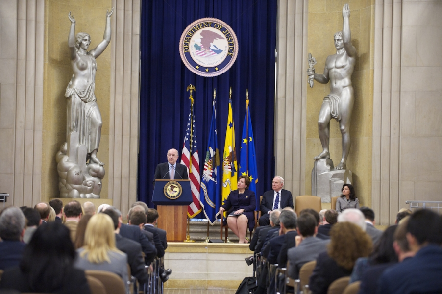 Vice President Joaquín Almunia of the European Commission speaks as Acting Assistant Attorney General Sharis A. Pozen, former Assistant Attorney General John H. Shenefield and Federal Trade Commission Commissioner Edith Ramirez look on.