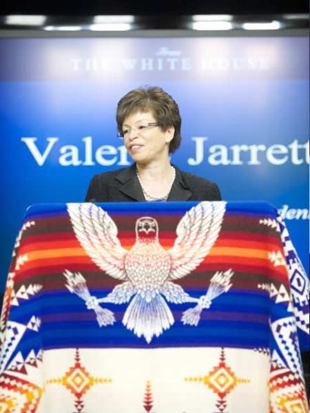 White House Senior Advisor Valerie Jarrett addresses attendees at the announcement of the Lawsuit settlements.