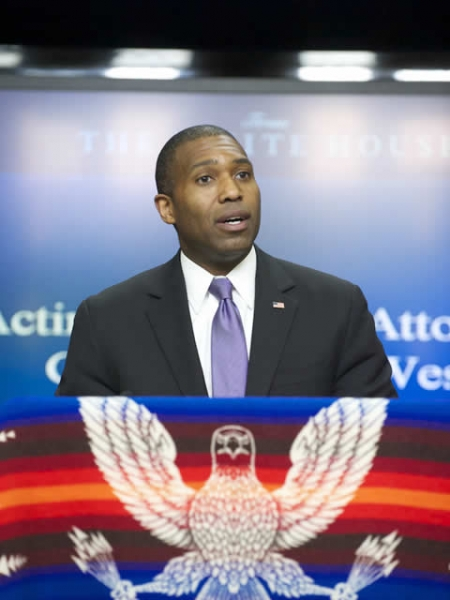 Acting Associate Attorney General Tony West speaks at the announcement of the Tribal Trust Case settlements.
