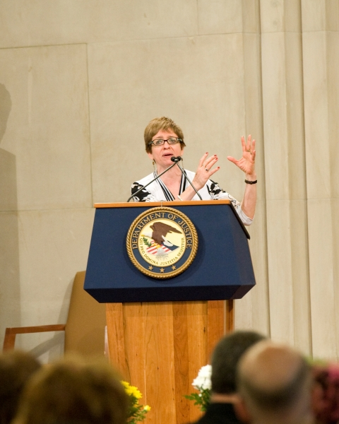 Chai Feldblum, Commissioner of the Equal Employment Opportunity Commission, gives the keynote address at this year's LGBT Pride Month Program. Commissioner Feldblum has worked extensively to advance lesbian, gay, bisexual and transgender rights, has been one of the drafters of the Employment Nondiscrimination Act, and is the first openly lesbian Commissioner of the EEOC.
