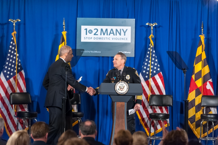 Westminster Police Chief Jeffery Spaulding welcomes Attorney General Eric Holder to the podium.