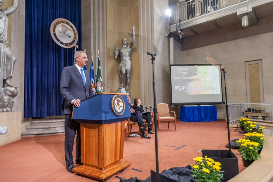 AG Holder announces the Department's plan to provide $1.8 million in new resources to improve access to defense.