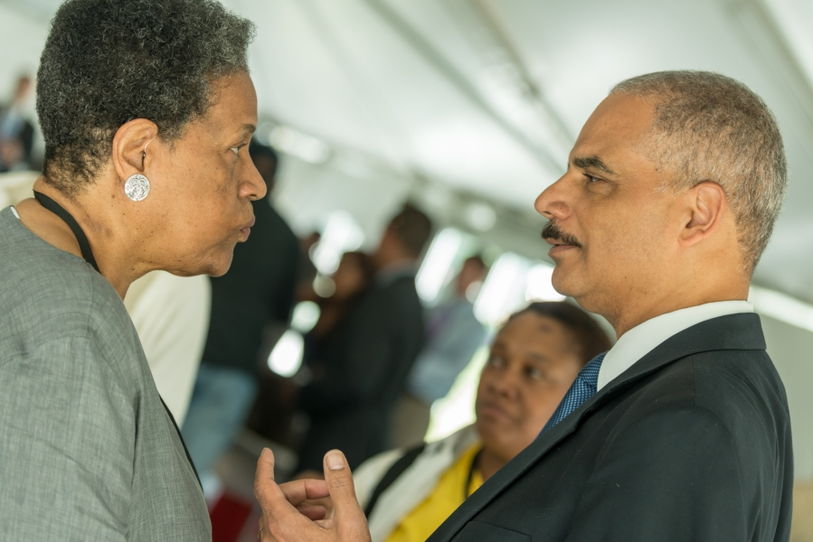 Attorney General meets with Myrlie Evers-Williams, civil rights activist and widow of slain Civil Rights Leader Medgar Evers