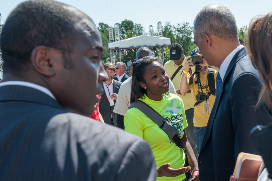 Attorney General speaks with march attendee